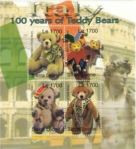 "Sierra Leone 2002 - Teddy Bears ""Italy"" Stamps - Sheet of 4 Stamps - MNH"