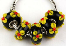 Lot 5pcs Lampwork Large Hole Black Yellow Flower Beads European Charm  Bracelet