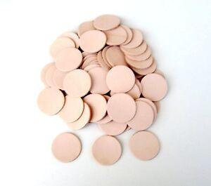 50 Lederstanzteile rund Rindsleder Naturleder 30 / 40 / 45 mm  Bastelleder Leder