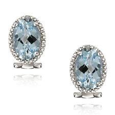 925 Silver 8.8ct Blue Topaz & Diamond Accent Oval Earrings