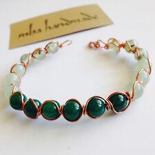 Women'S Natural Prehnite Jade Aventurine Beads Copper Wire Wrapped Bracelet