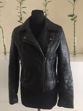Topshop Size 10 Black Faux Leather Jacket