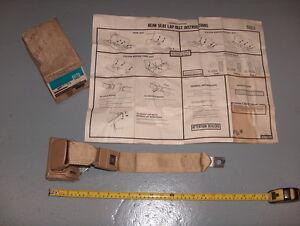 1973-1976 Chevy Nova X-Body GM NOS Rear Seat Outer Lap Safety Seat Belt Buckskin