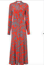 NEW Diane von Furstenberg Long Sleeves Maxi Silk Shirt Dress in Red Size 4