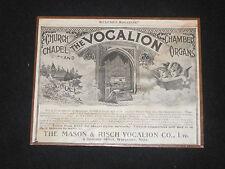 Antique Magazine Advertisement MASON  RISCH Vocalion Church Chaple Organ Mounted