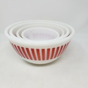 SET of 4 - Hazel Atlas Red Candy Stripe Nesting Mixing Bowls  - Vintage
