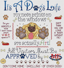 "It's A Dog's Life Cross Stitch Design (12""x12"",30x30cm, kit or chart)"