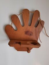 Wood Display Wall Shelf Baseball Bat Ball Glove Hat Holder Decor Glove w/ Laces