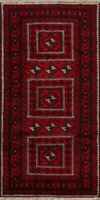 Geometric Balouch Afghan Oriental Area Rug Hand-Knotted Wool 4'x8' Tribal Carpet