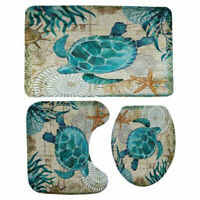3pcs Turtles Toilet Mat 3D Printed Floor Mat Anti Slip Water Absorption Carpet