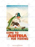 TRAVEL SPORT FISHING ANGLING SALMON TROUT FISH AUSTRIA ART PRINT POSTER BB7634B
