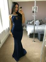 Navy Diamante Detail Dress Ball Gown Long Fishtail Maxi Evening Prom UK ❤
