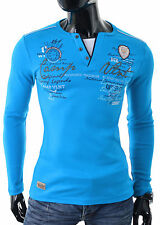 Mens Jumper Long sleeve V-Neck Top Buttons Embrioded Cotton Stretchy Slim Fit