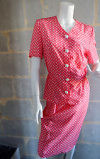 Tailleur Vintage d'été Rose à petits pois Blancs Jeanine Pauporté T.S