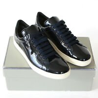 TOM FORD dark sapphire blue patent leather shoes Russel low top sneakers 41 NEW