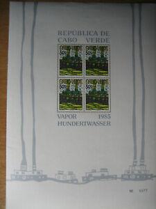 3 Briefmarken Kleinbögen Friedensreich Hundertwasser Cabo Verde 1985 a 50 s