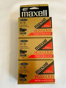 New 3 Pack Maxell TC-30 VHS-C Premium High Grade HGX Gold Camcorder Video Tapes
