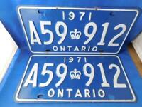 ONTARIO LICENSE PLATE  1971  LOT SET PAIR A59 912  VINTAGE CROWN CANADA CAR SHOW