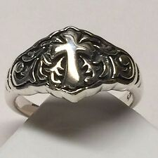Vintage Retro 925 Solid Sterling Silver Oxidized Finished Cross Ring Sz 8.75