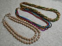 VINTAGE TO NOW MULTI COLOR MULTI STRAND WOOD & LUCITE BEADED NECKLACE LOT