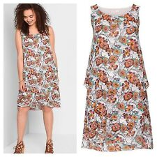 Sheego @ Curvissa Size 14 White Multi Floral Layered Look DRESS Summer £80