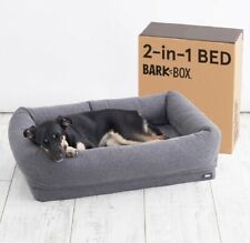 Barkbox 2-in-1 Memory Foam Dog Cuddler Bed | Plush Orthopedic Joint Medium Grey