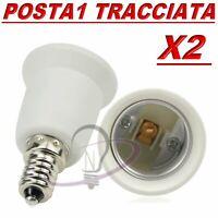 2 ATTACCO DA E14 A E27 LAMPADA HOLDER SOCKET ADATTATORE BASE PRESA CONVERTITORE