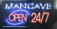 Man cave open 24/7 led lighted sign home shop decor neon display club service