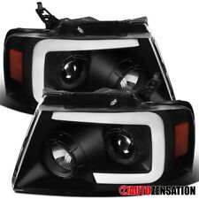 For 2004-2008 Ford F150 Black Projector Headlights+Switchback LED DRL+Seq Signal