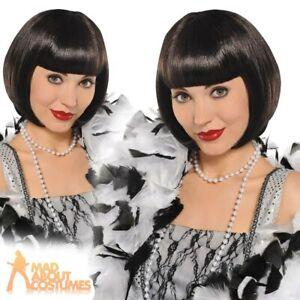 Adult Flapper Wig Black Ladies 1920s Gatsby Charleston Fancy Dress Accessory New