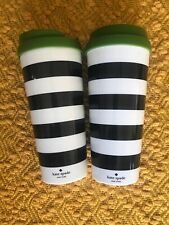 Kate Spade Insulated Plastic Travel Mug Black White Striped Green Lid Set of 2