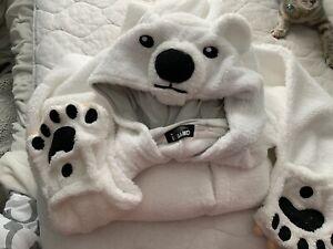 Polar Bear White Zip Up One Piece Pajamas or costume