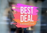 Best Deal Limited Time Clear Large Self Adhesive Window Shop Sign 3031
