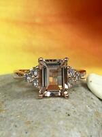 2.9ct Emerald Cut Peach Morganite 3 Stone Engagement Ring 14k Rose Gold Finish