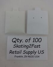 "Qty. 100 White Plain Puffed Earring Cards Hold 1.5"" x 1.75"""