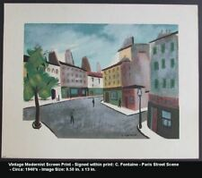 1940's Modernist Serigraph C. FONTAINE French Paris Street Scene Listed Artist