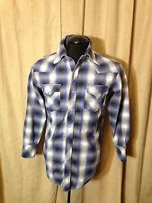 Mens Champion Winter Western Shirt M Blue Plaids Long Sleeve cotton