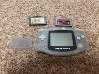 Nintendo Gameboy Advance Glacier clear Blue Bundle  Zelda NES & Link to the past