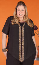 MIB Making it Big Jocelyn Top Black with Embroidered Gold V Neck Short Sleeves