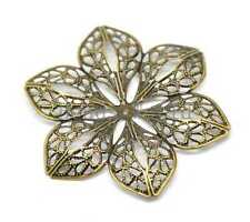 30 Bronze Tone Filigree Flower Wraps Connector Embellishments Findings 60x53mm