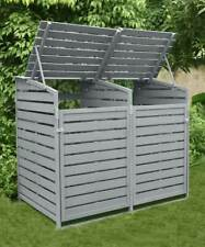 More details for double wheelie bin store storage outside garden horizontal slats, grey