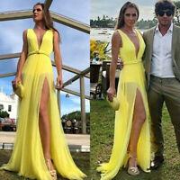 Womens Summer V Neck Party Evening Beach Dresses Slit Long Maxi Dress Sundress