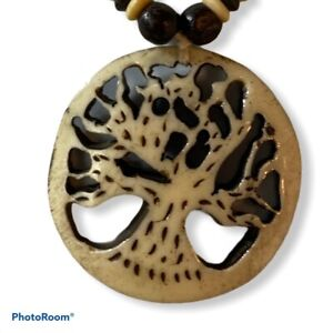 New Gypsy Rose Earth First Carved Tree Necklace Boho Jewelry Wood Beads Festival