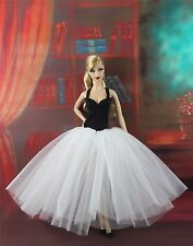 Handmade High-quality Dress with White Lace Clothes For Barbie Doll H23