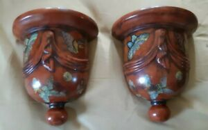 """Reduced- set of 2 vintage Style Porcelain  Butterfly Wall Sconce/Shelf - 8 3/4"""""""