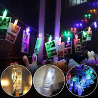 20 LED Hanging Picture Photo Peg Clip Fairy String Lights Wedding Window Decor