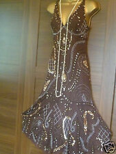 Principles 12 petit brown gold sequin beaded gatsby 20's vintage inspired dress