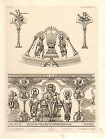 1857 Grande Arquitectura Estampado Monedas Catedral Medieval Gótico Art