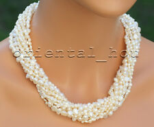 "18.5"" 9Strands Twisted Natural White Freshwater Pearl Jewelry Necklace"