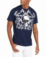 INC Mens T-Shirt Navy Blue Size Large L Crewneck Skull Print Berk Tee $29 036